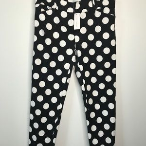 New York & Company Stretch B&W Polka Dot Pant Crop